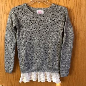 Justice sweater gray glitter with lace bottom